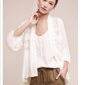 Anthropologie Elevenses Lace Kimono in White